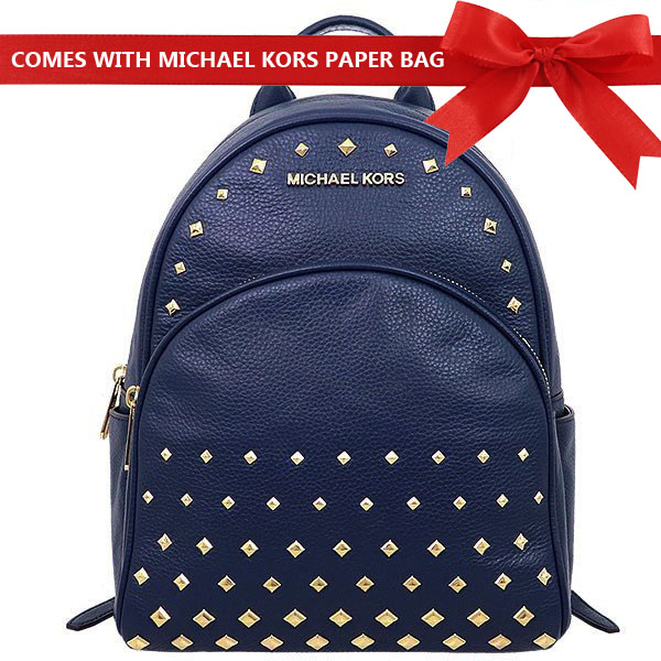 Michael Kors Backpack Abbey Medium Studded Leather Backpack Navy Dark Blue # 35T8GAYB2L