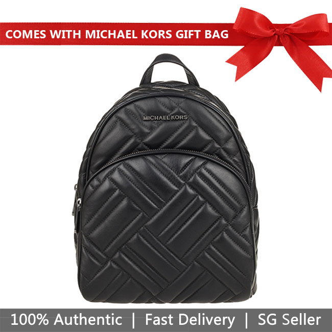 Michael Kors Backpack With Gift Bag Abbey Medium Quilted Leather Backpack Black # 35T9UAYB2T