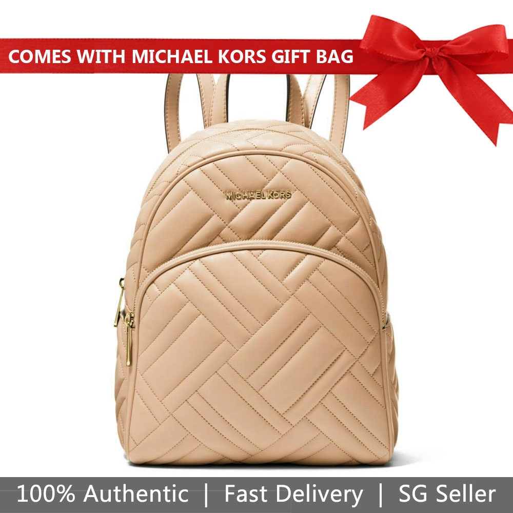 Michael Kors Backpack With Gift Bag Abbey Medium Quilted Leather Backpack Oyster Nude Beige # 35S9GAYB2T