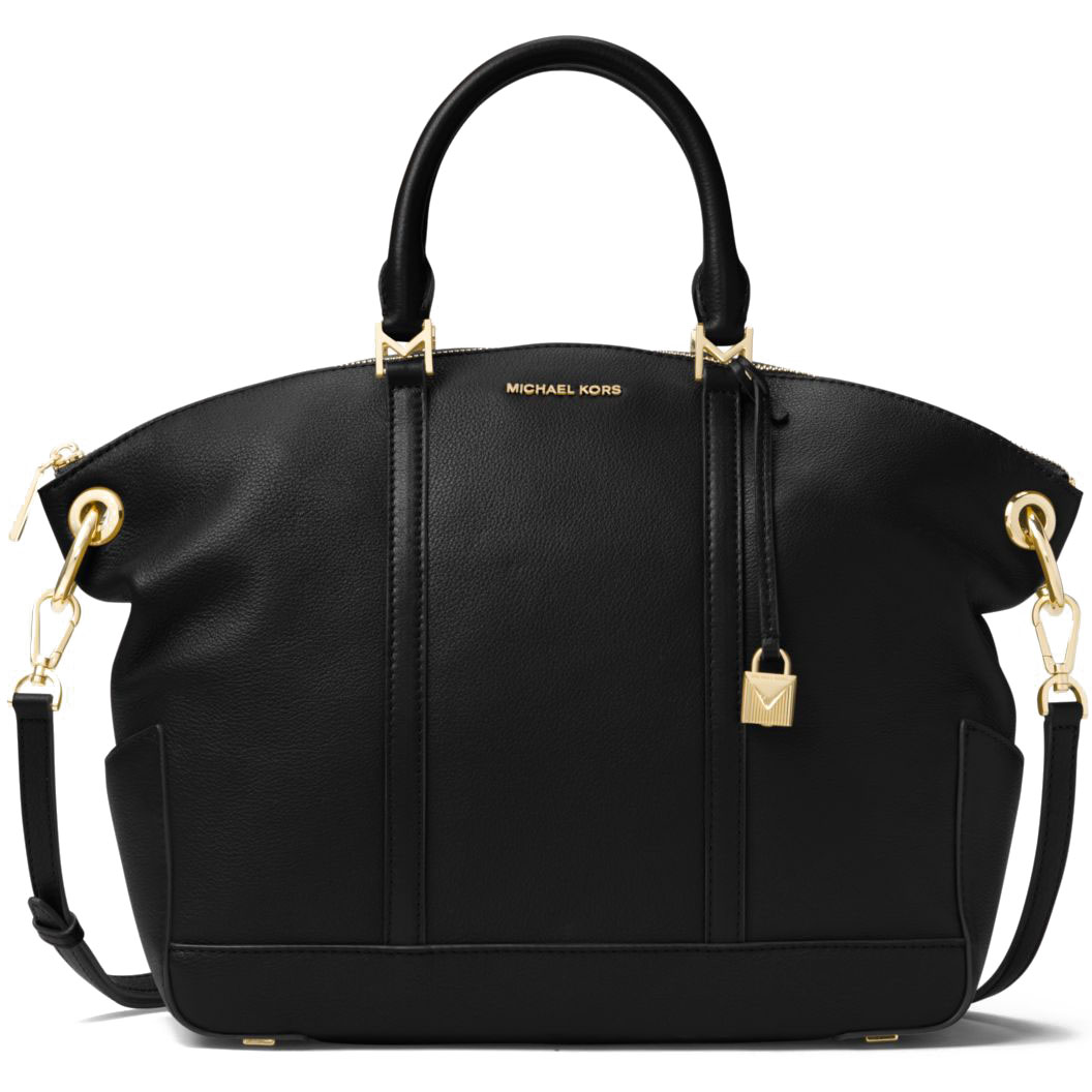 Michael Kors Beckett Large Top Zip Leather Satchel Crossbody Bag Black # 30T7GBUS3L
