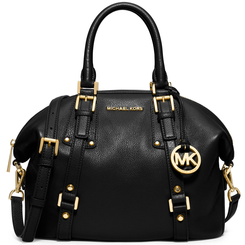Michael Kors Bedford Belted Medium Leather Satchel Crossbody Bag Black # 38S7GBFS2L
