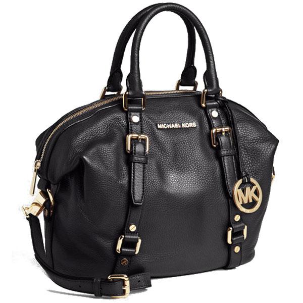 95454ba1d703 Michael Kors Bedford Belted Medium Leather Satchel Crossbody Bag Black    38S7GBFS2L