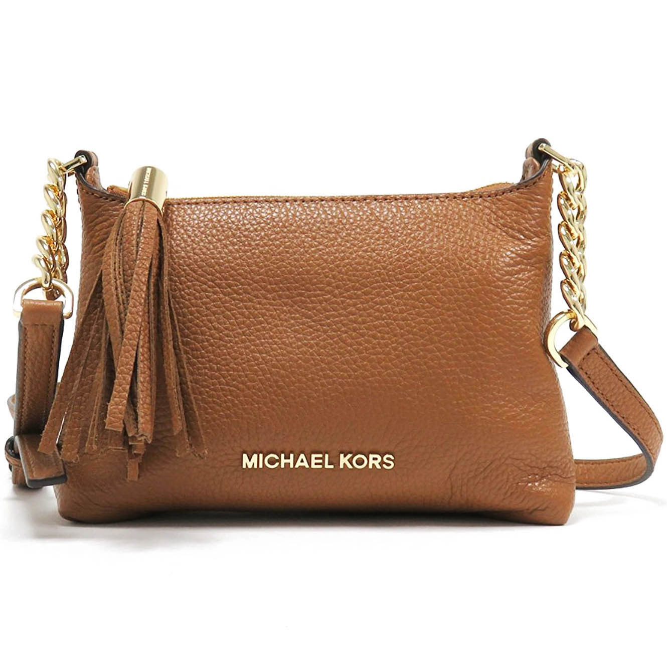 Michael Kors Bedford Leather Crossbody Bag Acorn Brown # 35H6GBFC3T