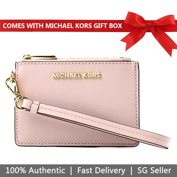 Michael Kors Card Case In Gift Box Jet Set Travel Coin Wallet Wristlet Id Card Holder Blossom / Fawn Pink # 35H8GTVW0T