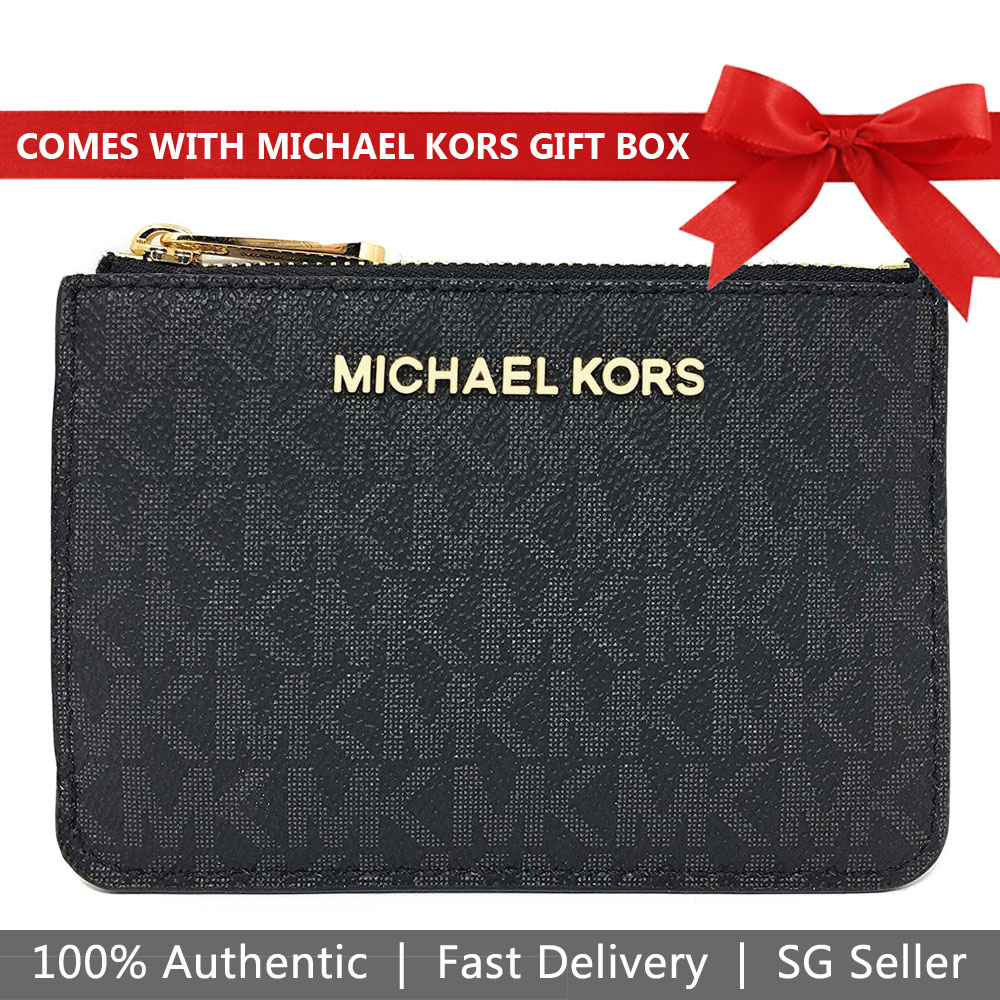 Michael Kors Card Case In Gift Box Jet Set Travel Small Top Zip Coin Pouch With Id Window Coin Case Key Case Black # 35F8GTVP1B