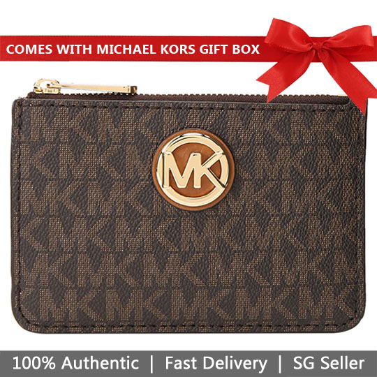 Michael Kors Card Key Case In Gift Box Fulton Small Top Zip Coin Pouch With Id Brown Acorn # 35H8GFTP1B