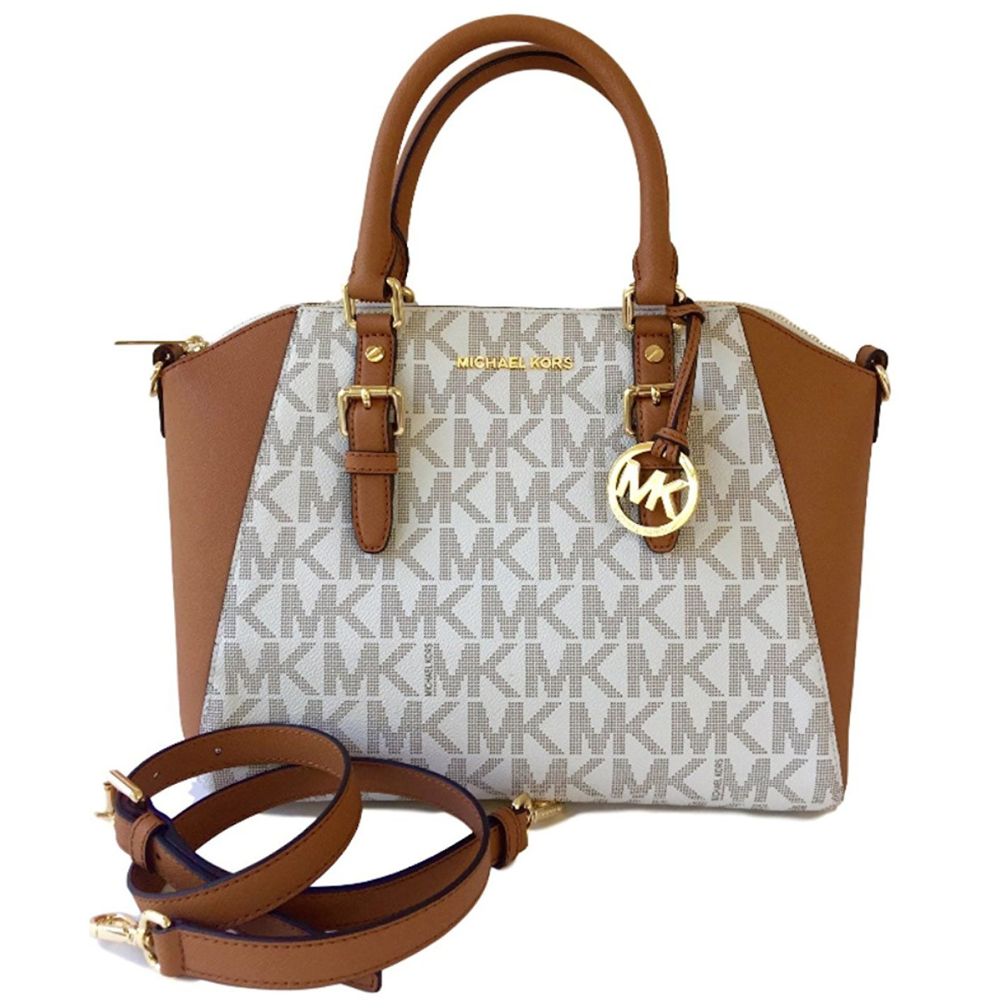 Michael Kors Ciara Medium Messenger Satchel Crossbody Bag Vanilla White / Acorn Brown # 35S7GC6M8B