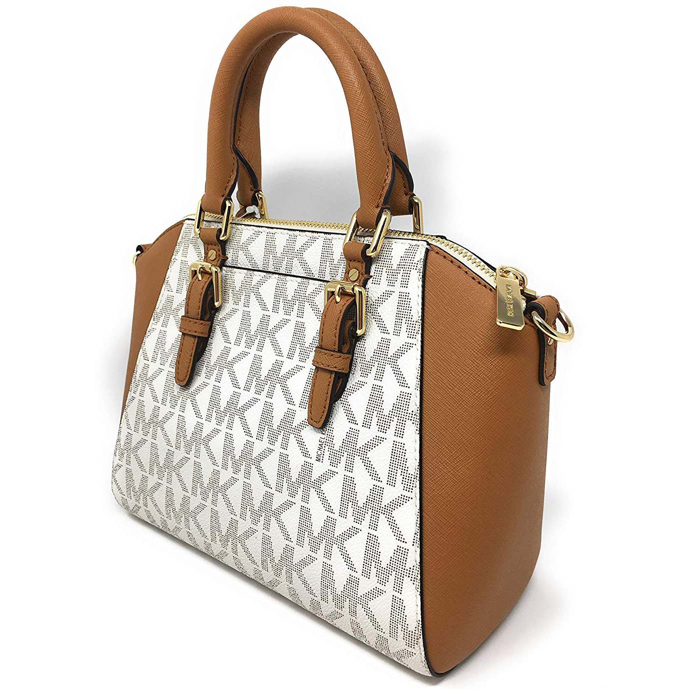 6096fc172a9d Michael Kors Ciara Medium Messenger Satchel Crossbody Bag Vanilla White    Acorn Brown   35S7GC6M8B