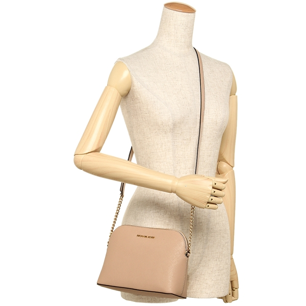 44065d97f95a Michael Kors Cindy Large Dome Leather Crossbody Bag Oyster Nude Beige    32H4GCPC7L
