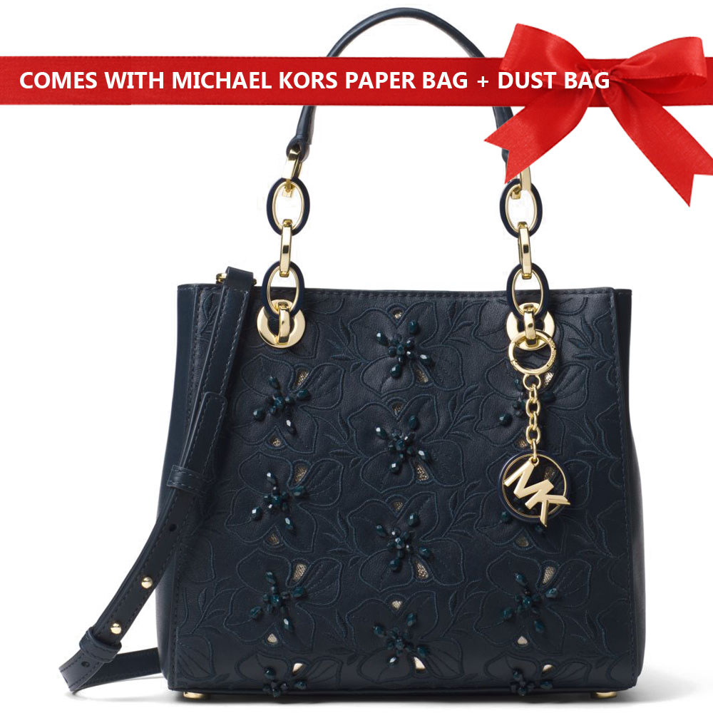 Michael Kors Crossbody Bag Cynthia Small Floral Embroidered Leather Satchel Admiral Navy Dark Blue # 30T8GCYS1I