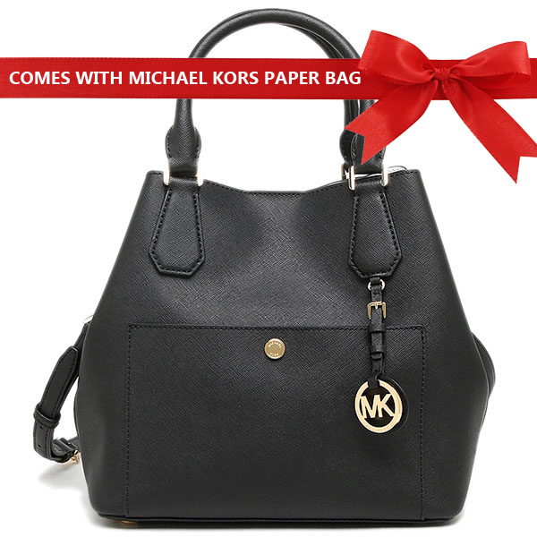 Michael Kors Crossbody Bag Greenwich Large Leather Grab Bag Black / Optic White # 35T6GGRS3T