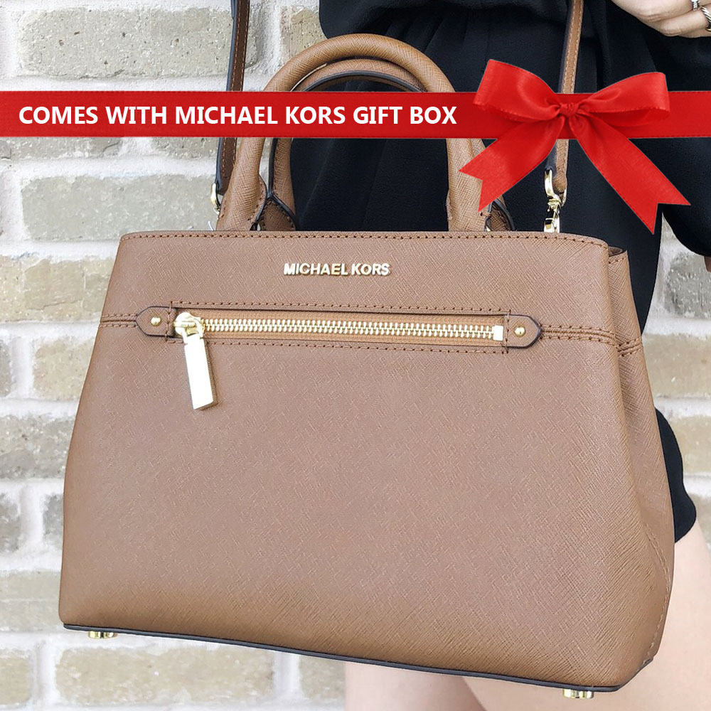Michael Kors Crossbody Bag Hailee Xs Saffiano Leather Satchel Luggage Brown # 35S8GX2S1L