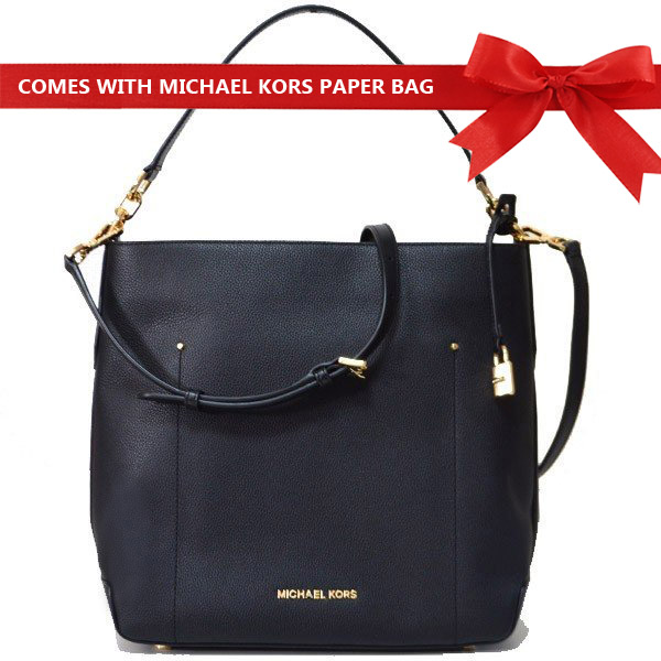 Michael Kors Crossbody Bag Hayes Large Bucket Leather Shoulder Bag Black # 35F8GYEL3L