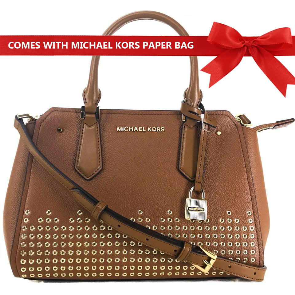 Michael Kors Crossbody Bag Hayes Medium Messenger Leather Satchel Studded Crossbody Bag Luggage Brown # 35F8GYEM6T