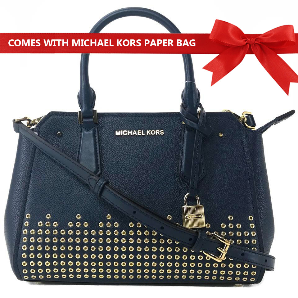 Michael Kors Crossbody Bag Hayes Medium Messenger Leather Satchel Studded Crossbody Bag Navy Dark Blue # 35F8GYEM6T