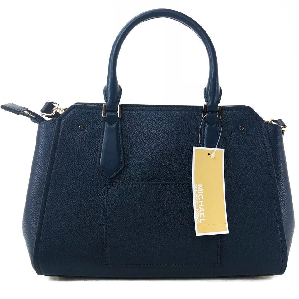 2f5b6acd60a1 Michael Kors Crossbody Bag Hayes Medium Messenger Leather Satchel Studded Crossbody  Bag Navy Dark Blue