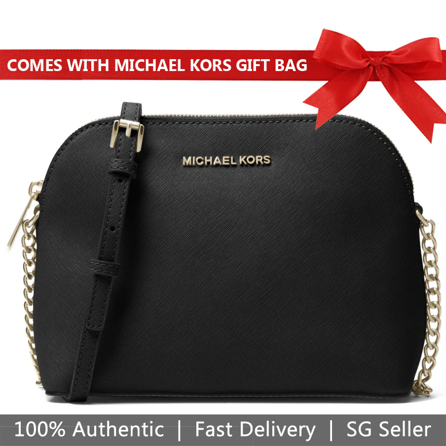 Michael Kors Crossbody Bag In Gift Bag Cindy Large Dome Leather Crossbody Black # 32H4GCPC7L