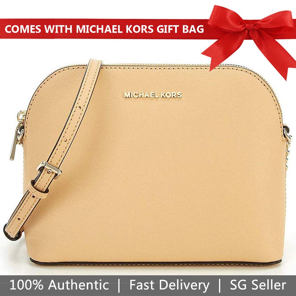 Michael Kors Crossbody Bag In Gift Box Cindy Large Dome Leather Crossbody Butternut Nude Beige # 32T8TF5C9L