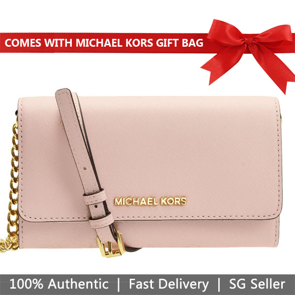 Michael Kors Crossbody Bag In Gift Box Jet Set Travel Large Phone Crossbody Ballet Nude Pink # 35S8GTVC3L
