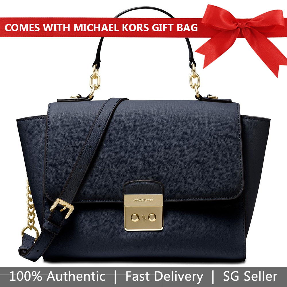6d7d886d271b Michael Kors Crossbody Bag With Gift Bag Brandi Medium Top Handle Leather  Satchel Admiral Navy Dark
