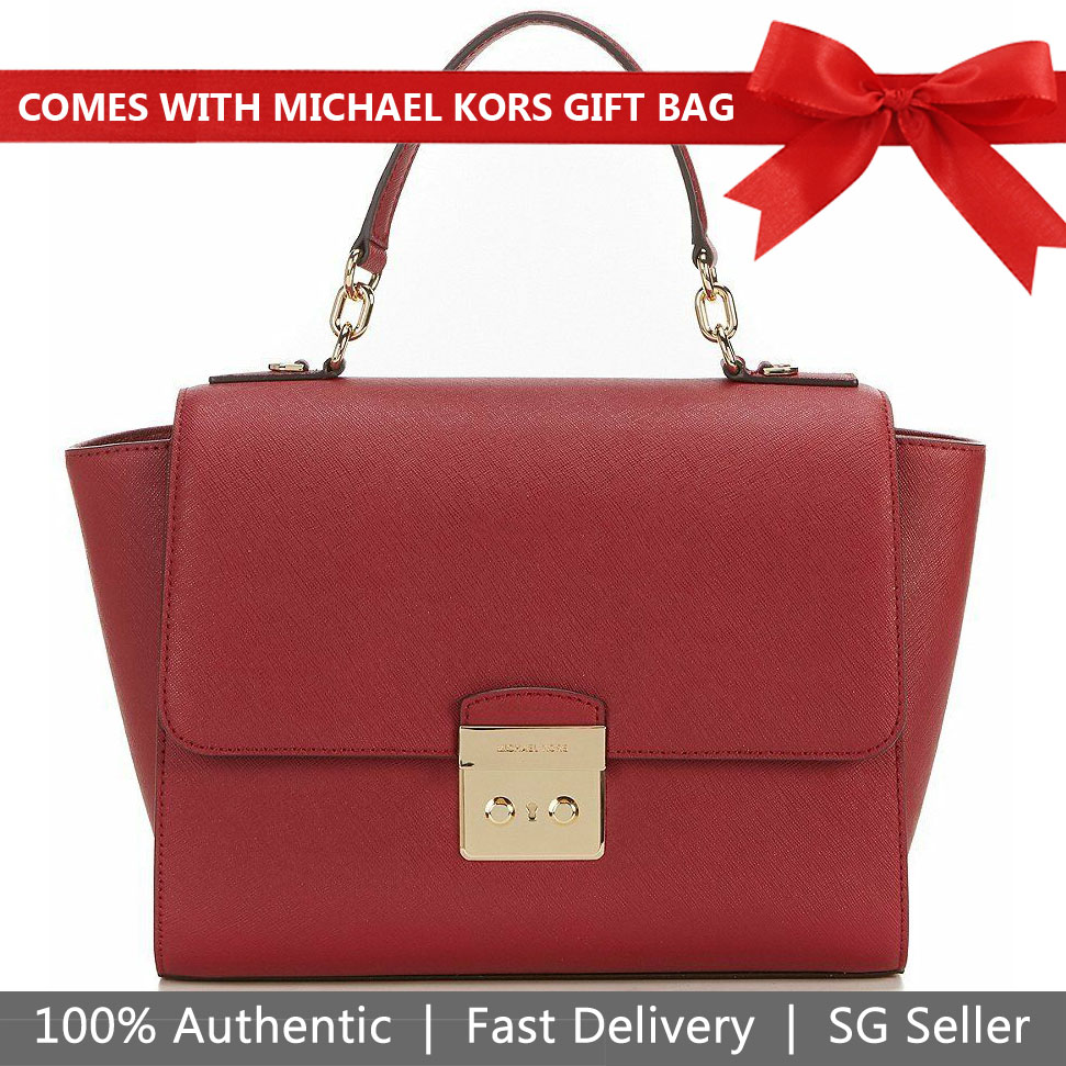 Michael Kors Crossbody Bag With Gift Bag Brandi Medium Top Handle Leather Satchel Bright Red # 38H8GI3S2L