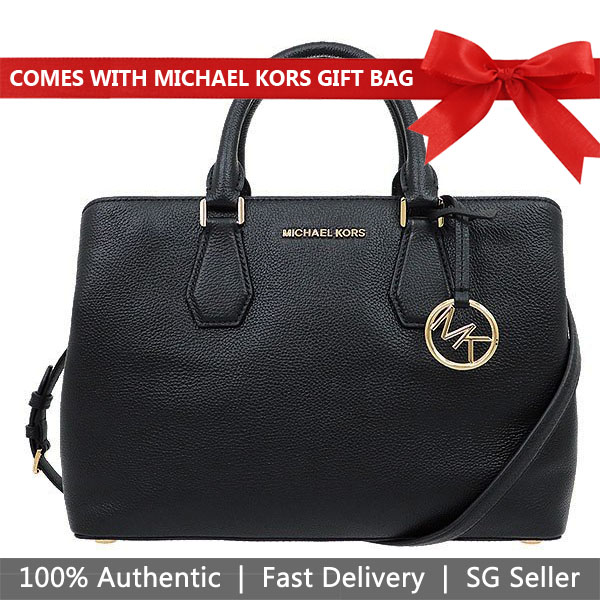 Michael Kors Crossbody Bag With Gift Bag Camille Large Satchel Leather Convertible Crossbody Bag Black # 35S8GCAS3L