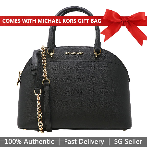 Michael Kors Crossbody Bag With Gift Bag Emmy Large Dome Satchel Black # 35H7GY3S3L