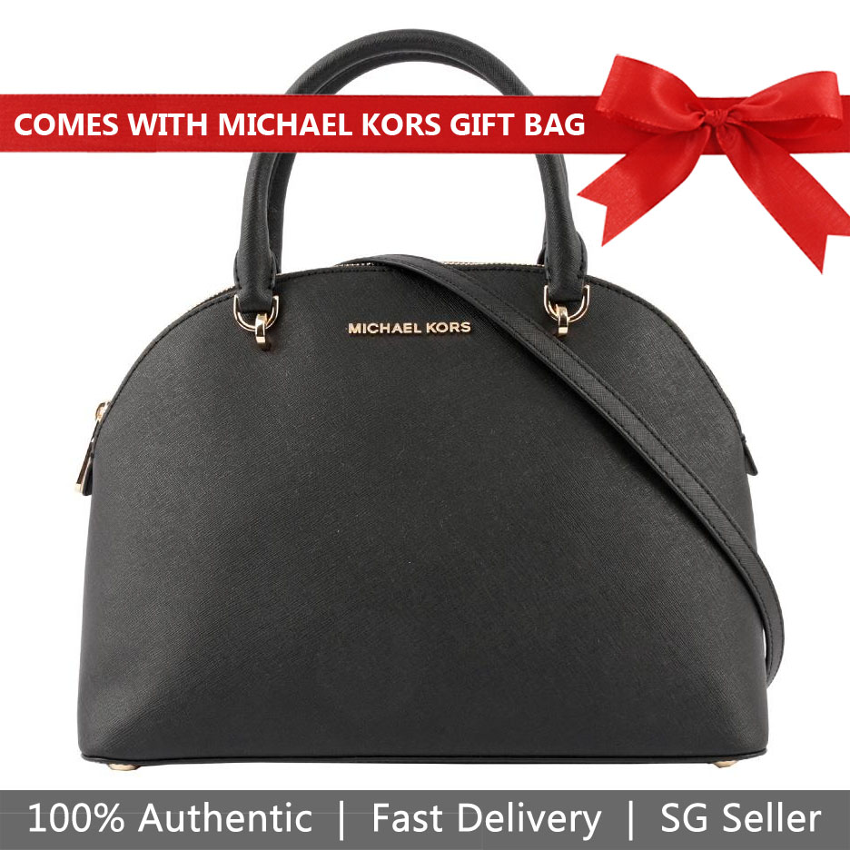 Michael Kors Crossbody Bag With Gift Bag Emmy Large Dome Satchel Black # 35T9GY3S3L