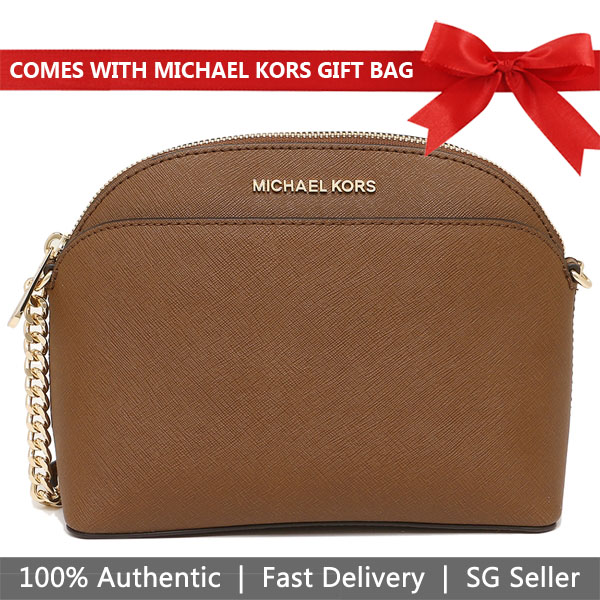 Michael Kors Crossbody Bag With Gift Bag Emmy Medium Dome Crossbody Luggage Brown # 35S9GTVC2L