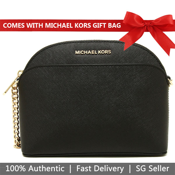 Michael Kors Crossbody Bag With Gift Bag Emmy Medium Saffiano Leather Dome Crossbody Black # 35H7GY3C2L
