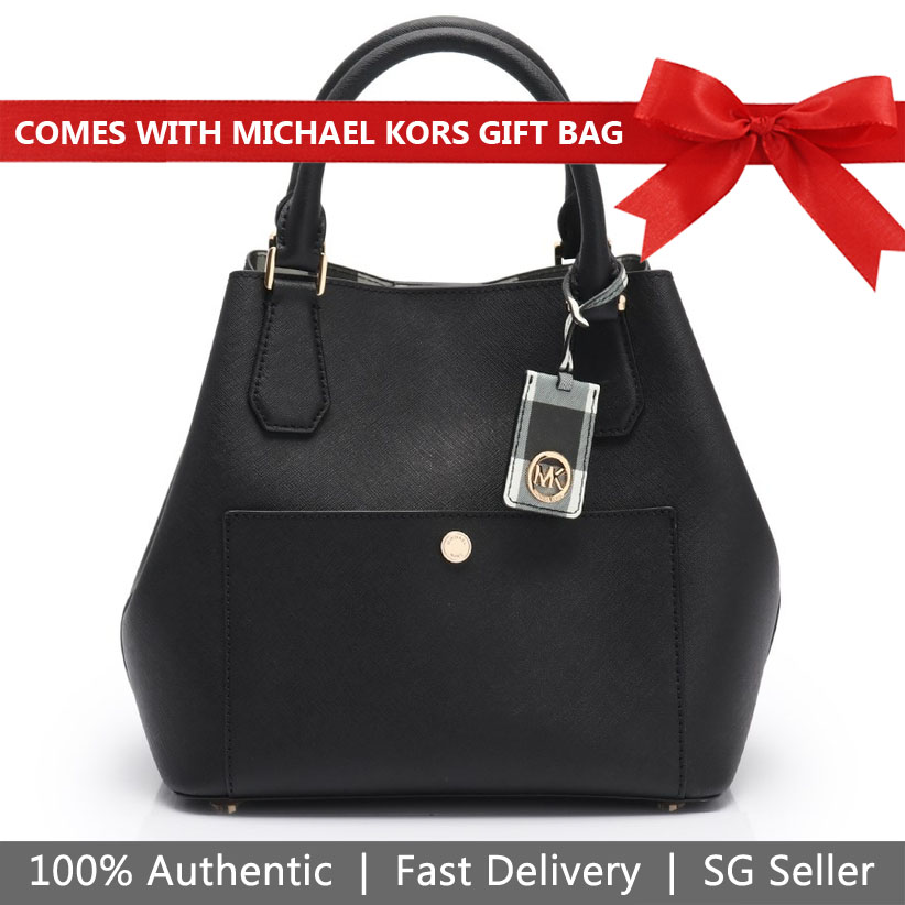 Michael Kors Crossbody Bag With Gift Bag Greenwich Large Leather Grab Bag Bucket Bag Black # 35T8GGRT3T