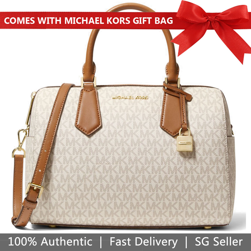 6f701b28b2de Michael Kors Crossbody Bag With Gift Bag Hayes Large Duffle Signature  Vanilla White Acorn # 35H8GYEU3B