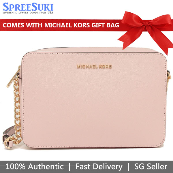 Michael Kors Crossbody Bag With Gift Bag Jet Set Large Crossbody Blossom Nude Pink # 35T8GTTC9L