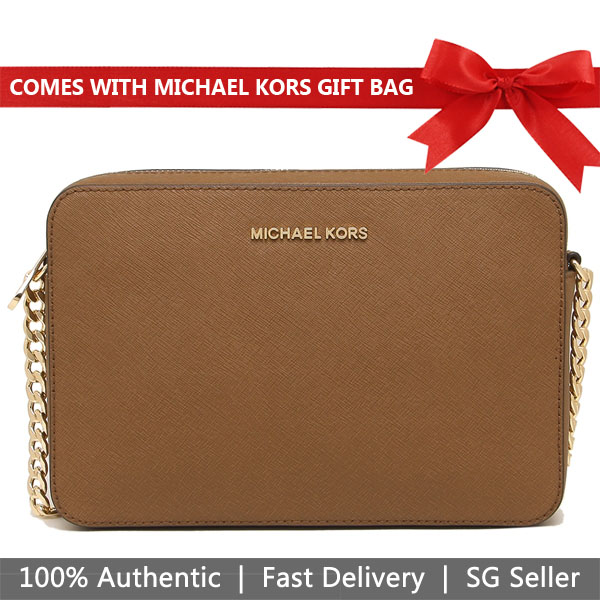 Michael Kors Crossbody Bag With Gift Bag Jet Set Large Crossbody Luggage Brown # 35T8GTTC9L