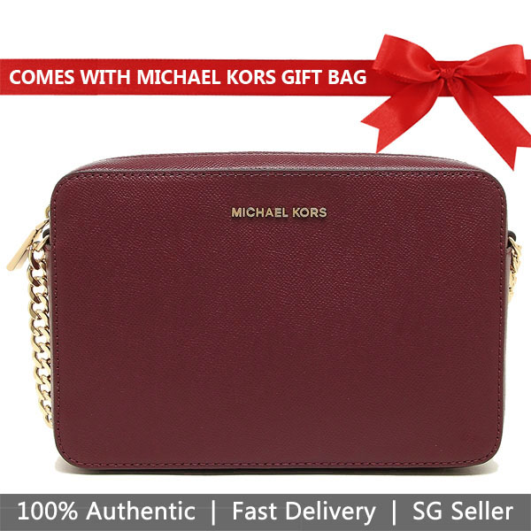 Michael Kors Crossbody Bag With Gift Bag Jet Set Large Crossbody Maroon Dark Red / Gold # 32S4GTVC3L