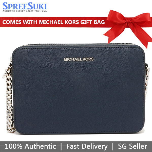 Michael Kors Crossbody Bag With Gift Bag Jet Set Large Crossbody Navy / Silver # 35T8GTTC9L