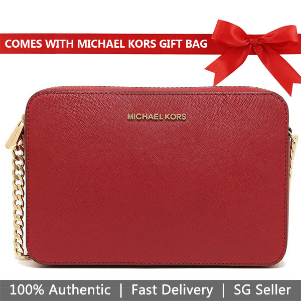 Michael Kors Crossbody Bag With Gift Bag Jet Set Large Crossbody Scarlet Red # 35T8GTTC9L
