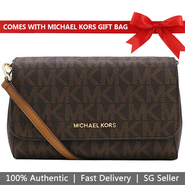 Michael Kors Crossbody Bag With Gift Bag Jet Set Medium Convertible Pouchette Crossbody Bag Brown / Acorn # 35T8GTTU2B