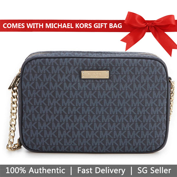 Michael Kors Crossbody Bag With Gift Bag Large East West Crossbody Admiral Blue # 32S7GJSC7B