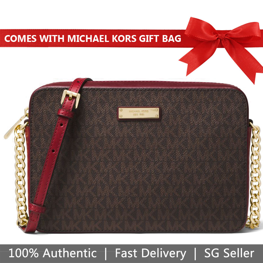 Michael Kors Crossbody Bag With Gift Bag Large East West Crossbody Brown Oxblood Dark Red # 32F8GF5C3B