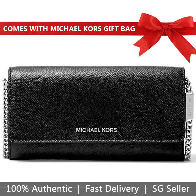 Michael Kors Crossbody Bag With Gift Bag Large Two-Tone Crossgrain Leather Convertible Chain Wallet Black / Pearl Grey # 32H8SF5C3T