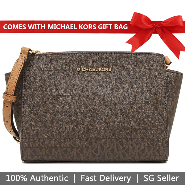 Michael Kors Crossbody Bag With Gift Bag Selma Medium Messenger Brown Acorn # 35H8GLMM2B
