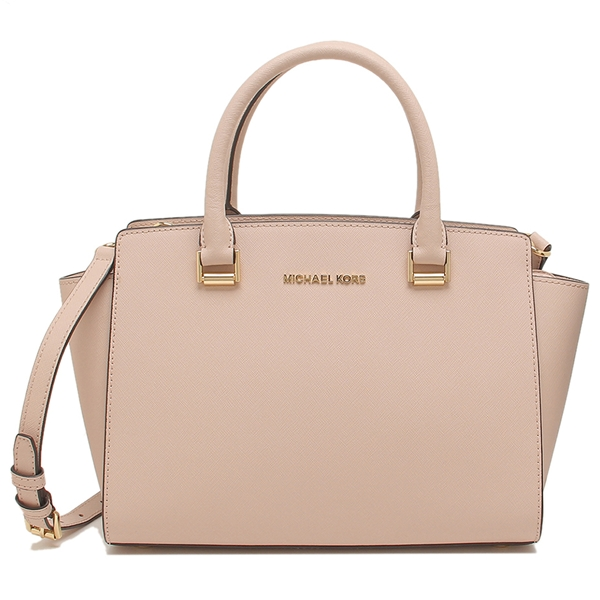 Michael Kors Crossbody Bag With Gift Bag Selma Medium Top Zip Saffiano Leather Satchel Ballet Beige Nude Pink # 35H8GLMS2L