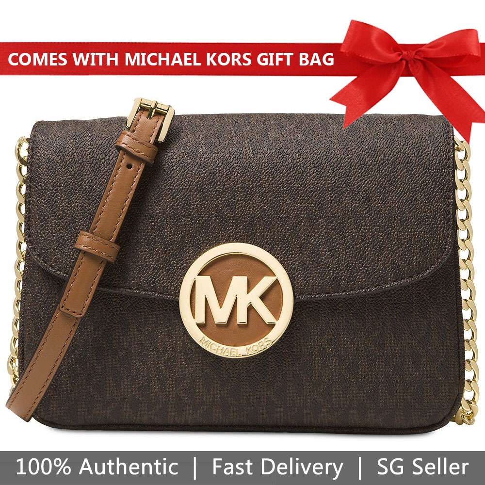 Michael Kors Crossbody Bag With Gift Bag Signature Small Fulton Flap Gusset Crossbody Brown # 32T5GFTC7B