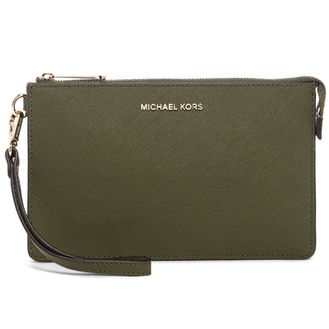 Michael Kors Daniela Medium Saffiano Leather Wristlet Olive Green # 32F5GDDW2L
