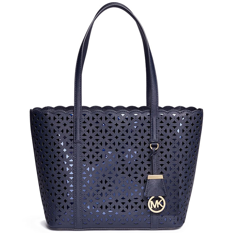 Michael Kors Desi Leather Small Travel Tote Shoulder Bag Admiral Blue # 30H6GDFT1T