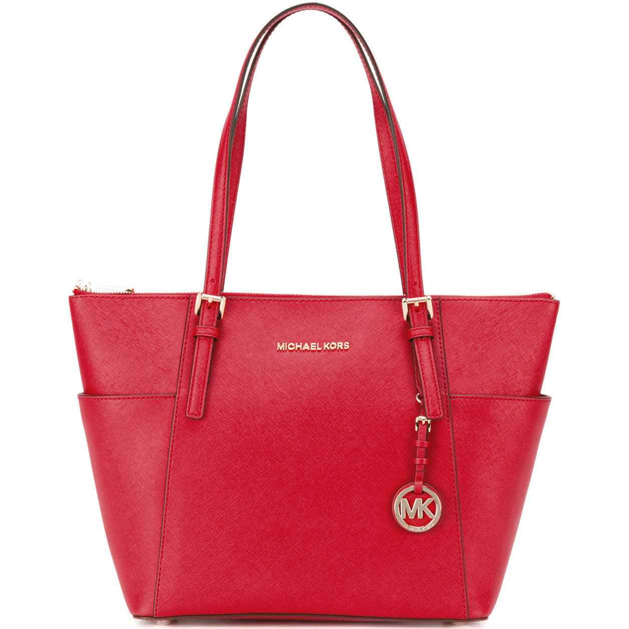 Michael Kors East West Top Zip Leather Tote Bright Red # 30F2GTTT8L
