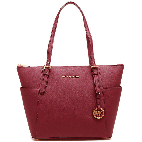 Michael Kors East West Top Zip Leather Tote Cherry Red # 30F2GTTT8L