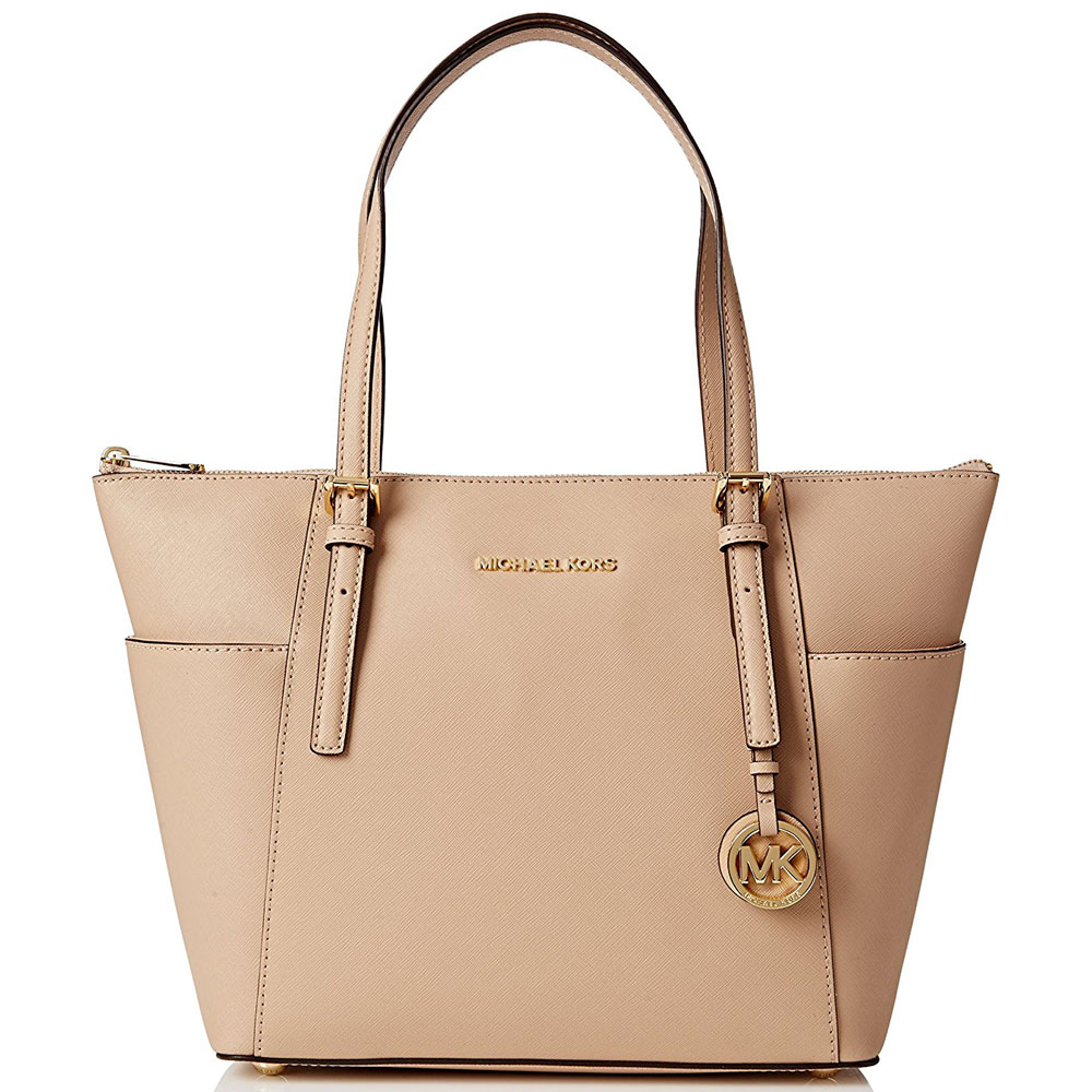 Michael Kors East West Top Zip Leather Tote Oyster Nude Beige # 30F2GTTT8L