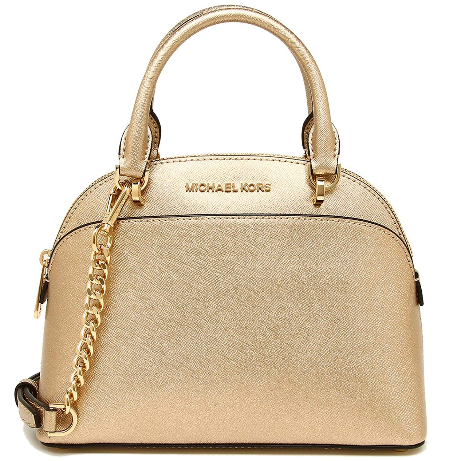 Michael Kors Emmy Small Dome Leather Satchel Crossbody Bag Gold # 35H7MY3S1M